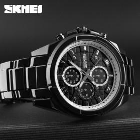 SKMEI Jam Tangan Analog Pria Strap Stainless Steel - 1378 - Black White - 3
