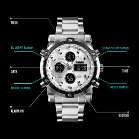 SKMEI Jam Tangan Kasual Digital Analog Pria - 1389 - Silver Black - 3