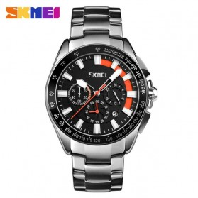 SKMEI Jam Tangan Analog Pria Strap Stainless Steel - 9167 - Orange