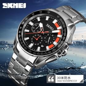 SKMEI Jam Tangan Analog Pria Strap Stainless Steel - 9167 - Orange - 6