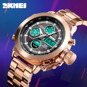 SKMEI Jam Tangan Analog Chrono Pria Stainless Steel Strap - 1515 - Rose Gold - 3