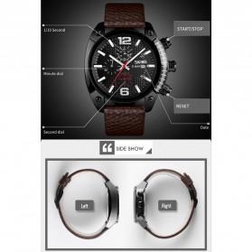 SKMEI Jam Tangan Analog Chrono Pria Leather Strap - 9190 - Silver - 2
