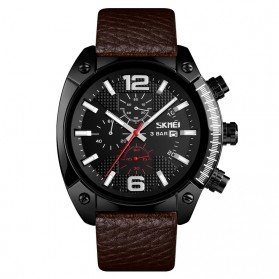 SKMEI Jam Tangan Analog Chrono Pria Leather Strap - 9190 - Black - 1