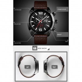SKMEI Jam Tangan Analog Chrono Pria Leather Strap - 9190 - Black - 2