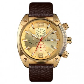 SKMEI Jam Tangan Analog Chrono Pria Leather Strap - 9190 - Golden - 1