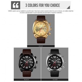 SKMEI Jam Tangan Analog Chrono Pria Leather Strap - 9190 - Golden - 5