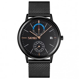 SKMEI Jam Tangan Analog Fashion Pria Mesh Steel - 9182 - Black