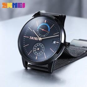 SKMEI Jam Tangan Analog Fashion Pria Mesh Steel - 9182 - Silver Black - 5