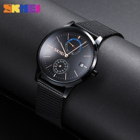 SKMEI Jam Tangan Analog Fashion Pria Mesh Steel - 9182 - Silver Black - 6