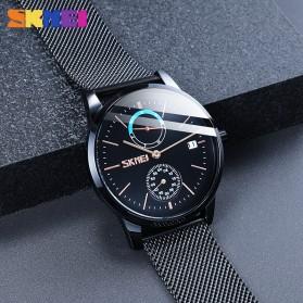 SKMEI Jam Tangan Analog Fashion Pria Mesh Steel - 9182 - Silver Black - 7