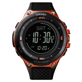SKMEI Jam Tangan Digital Pria Sport Thermometer Compass Pedometer Calorie - 1443 - Orange