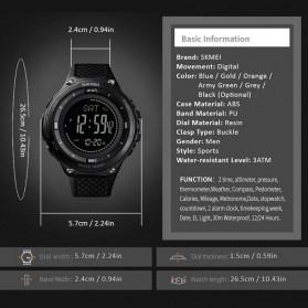 SKMEI Jam Tangan Digital Pria Sport Thermometer Compass Pedometer Calorie - 1443 - Orange - 10