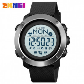 SKMEI Jam Tangan Smartwatch Pria Bluetooth Pedometer Compass Heartrate - 1511 - Black