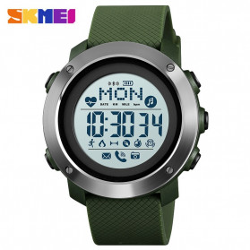SKMEI Jam Tangan Smartwatch Pria Bluetooth Pedometer Compass Heartrate - 1511 - Army Green