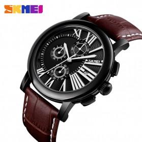 SKMEI Jam Tangan Analog Pria Strap Kulit - 9196 - Black - 2