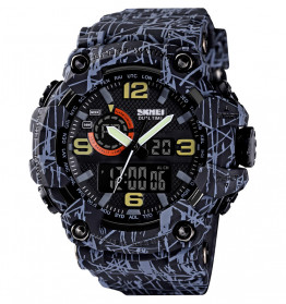 SKMEI Jam Tangan Digital Analog 3 Time Pria - 1520 - Gray/Black
