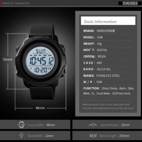 SKMEI Jam Tangan Digital Sporty Pria - 1540 - Black - 12