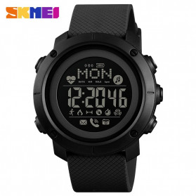 SKMEI Jam Tangan Smartwatch Pria Bluetooth Pedometer Compass Heartrate - 1512 - Black