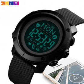 SKMEI Jam Tangan Smartwatch Pria Bluetooth Pedometer Compass Heartrate - 1512 - Black - 2
