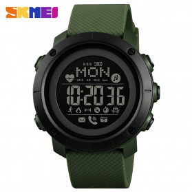 SKMEI Jam Tangan Smartwatch Pria Bluetooth Pedometer Compass Heartrate - 1512 - Army Green