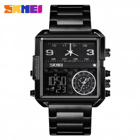 SKMEI Jam Tangan Digital Analog Pria Strap Stainless Steel - 1584 - Black