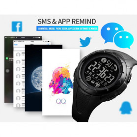 SKMEI Jam Tangan Smartwatch Pria Bluetooth Pedometer Heartrate - 1542 - White/Green - 8