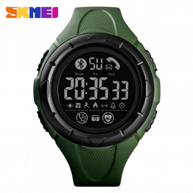 SKMEI Jam Tangan Smartwatch Pria Bluetooth Pedometer Heartrate - 1542 - Green/Black