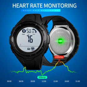 SKMEI Jam Tangan Smartwatch Pria Bluetooth Pedometer Heartrate - 1542 - Green/Black - 4