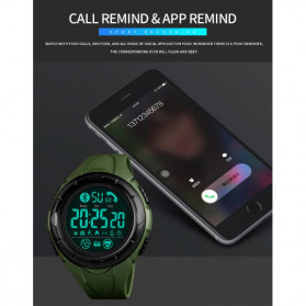 SKMEI Jam Tangan Smartwatch Pria Bluetooth Pedometer Heartrate - 1542 - Green/Black - 7