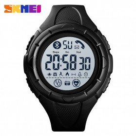 SKMEI Jam Tangan Smartwatch Pria Bluetooth Pedometer Heartrate - 1542 - Black White