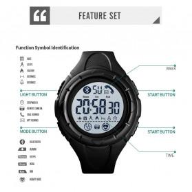 SKMEI Jam Tangan Smartwatch Pria Bluetooth Pedometer Heartrate - 1542 - Black White - 5