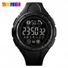 SKMEI Jam Tangan Smartwatch Pria Bluetooth Pedometer Heartrate - 1542 - Black/Black