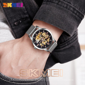 SKMEI Jam Tangan Mechanical Pria Automatic Movement - 9199 - Silver - 3