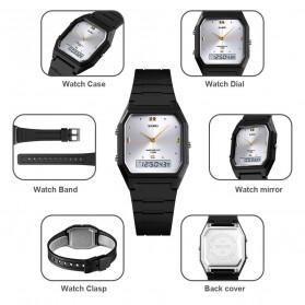 SKMEI Jam Tangan Digital Analog Pria - 1604 - Black/Silver - 9