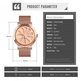 SKMEI Jam Tangan Analog Pria Strap Stainless Steel - 9204 - Rose Gold - 6