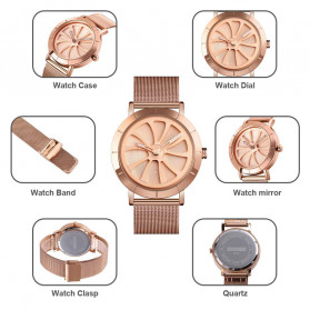 SKMEI Jam Tangan Analog Pria Strap Stainless Steel - 9204 - Rose Gold - 7