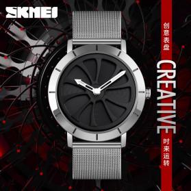 SKMEI Jam Tangan Analog Pria Strap Stainless Steel - 9204 - Silver Black - 3