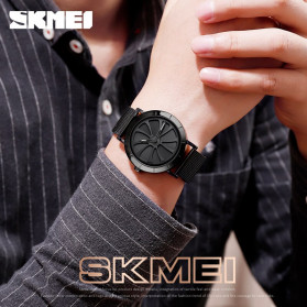 SKMEI Jam Tangan Analog Pria Strap Stainless Steel - 9204 - Silver Black - 4