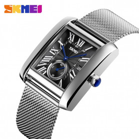 SKMEI Jam Tangan Analog Pria Strap Stainless Steel - 9191 - Silver Black - 2