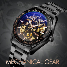 SKMEI Jam Tangan Mechanical Pria Automatic Movement - 9194 - Silver - 4