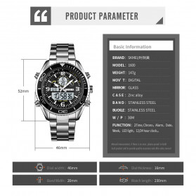 SKMEI Jam Tangan Digital Analog Pria - 1600 - White/Silver - 8