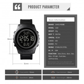 SKMEI Jam Tangan Sporty Digital Pria - 1624 - Black - 7