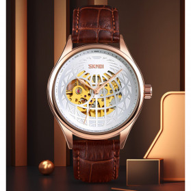 SKMEI Jam Tangan Mechanical Pria Automatic Movement - 9209 - Black Gold - 2