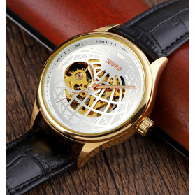 SKMEI Jam Tangan Mechanical Pria Automatic Movement - 9209 - Black Gold - 4