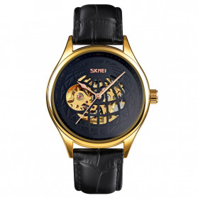 SKMEI Jam Tangan Mechanical Pria Automatic Movement - 9209 - Black Gold