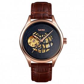 SKMEI Jam Tangan Mechanical Pria Automatic Movement - 9209 - Rose Gold/Black