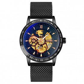 SKMEI Jam Tangan Mechanical Pria Automatic Movement - 9216 - Black