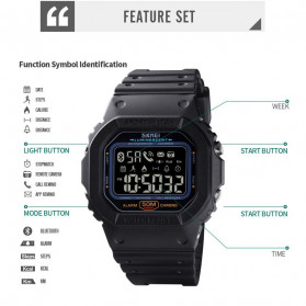SKMEI Jam Tangan Smartwatch Pria Bluetooth Pedometer Heartrate - 1629 - Black - 9