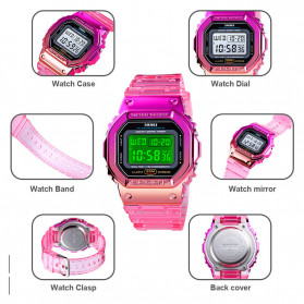 SKMEI Jam Tangan Digital Wanita - 1622 - Watermelon Red - 9