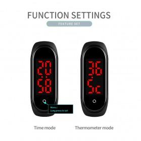 SKMEI Wristband Jam Tangan Gelang LED with Thermometer - 1672 - Black - 9